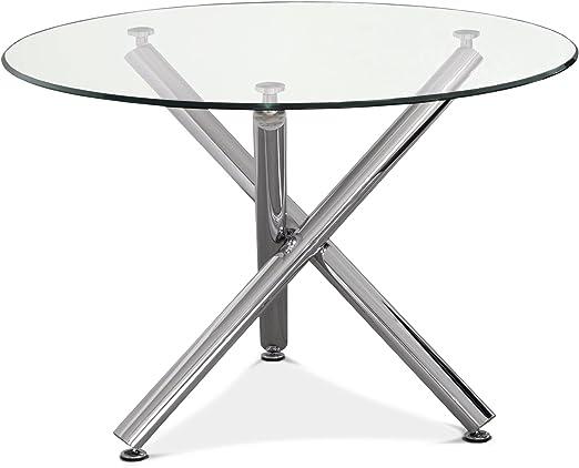NKR - C010E0038 - Mesa comedor, mesa redonda de cristal y ...
