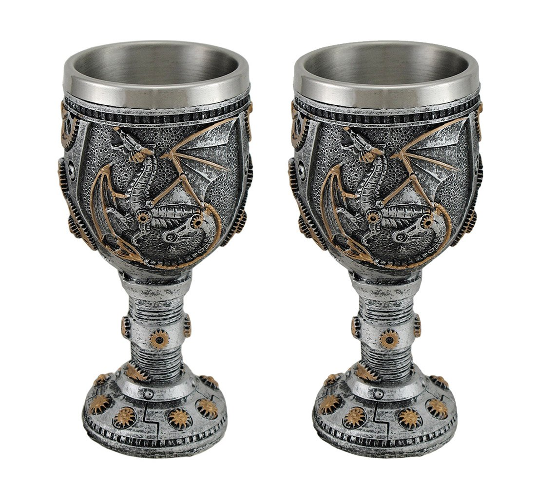 Resin Goblets Set Of 2 Steampunk Dragon And Gears Goblets W/Stainless Steel Liner 2.25 X 5.5 X 2.25 Inches Silver