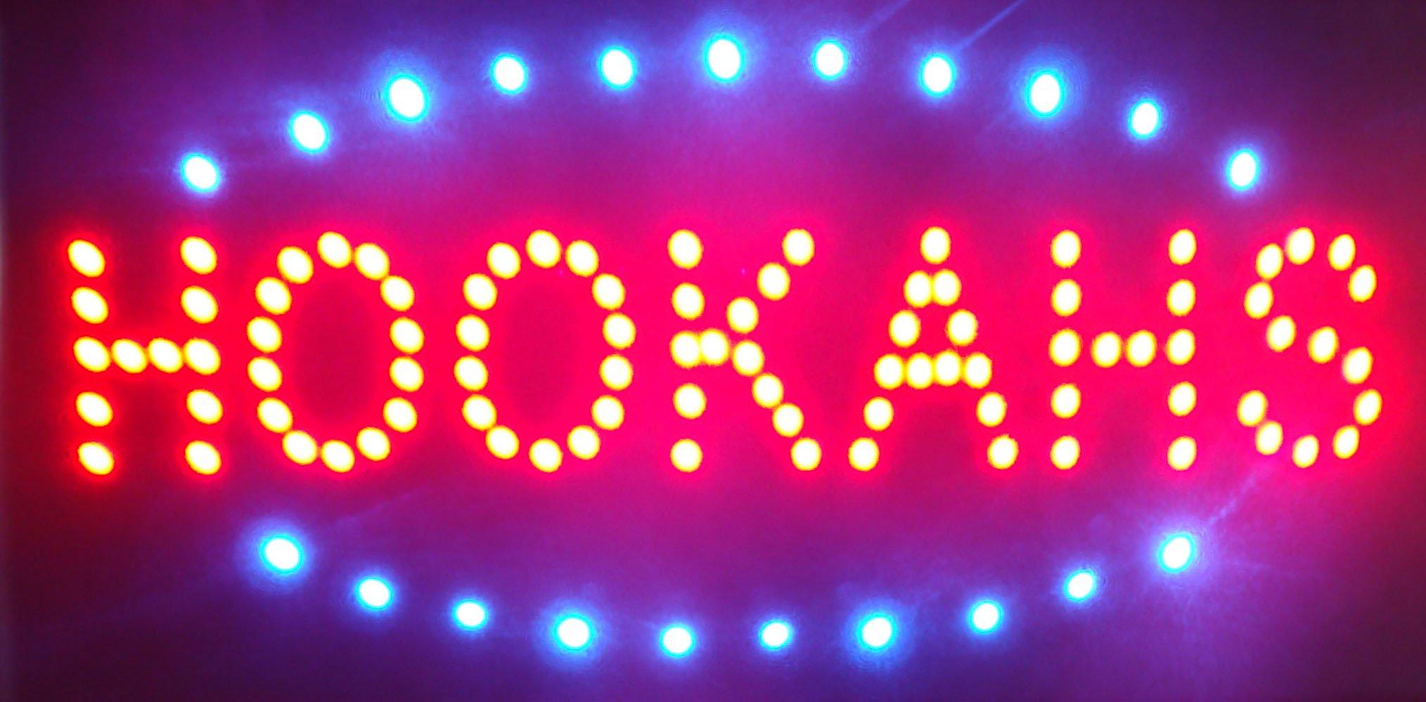 CHENXI Led Neon Vape Shop/Vapor E-cigarettes/ Vape Eliquids/Tabacchi/Smoke Shop/Hookahs/E-liquid/E cigs/E-cigarette Open Store Signs Vape E-liquid Sign Board Indoor (48 X 25 CM, HOOKAHS)