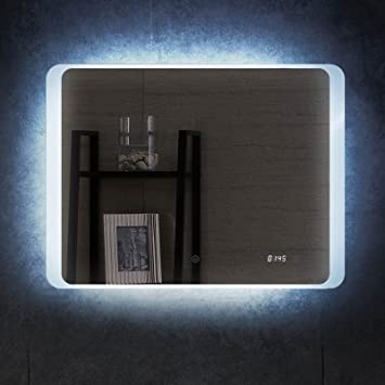 Amazon De Pontesino Badspiegel Mit Led Beleuchtung Uhr Spiegel