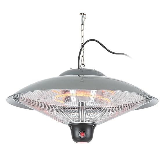 Duramaxx Heizsporn Radiador techo (infrarrojo, paraguas reflector 60,5 cm (Ø), 2000W, mando distancia, fácil montaje, mosquetones, exterior, sostenible, ...