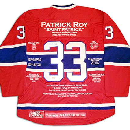 detailed look ad12b 93f17 Patrick Roy Career Jersey - Autographed - LTD ED 333 ...