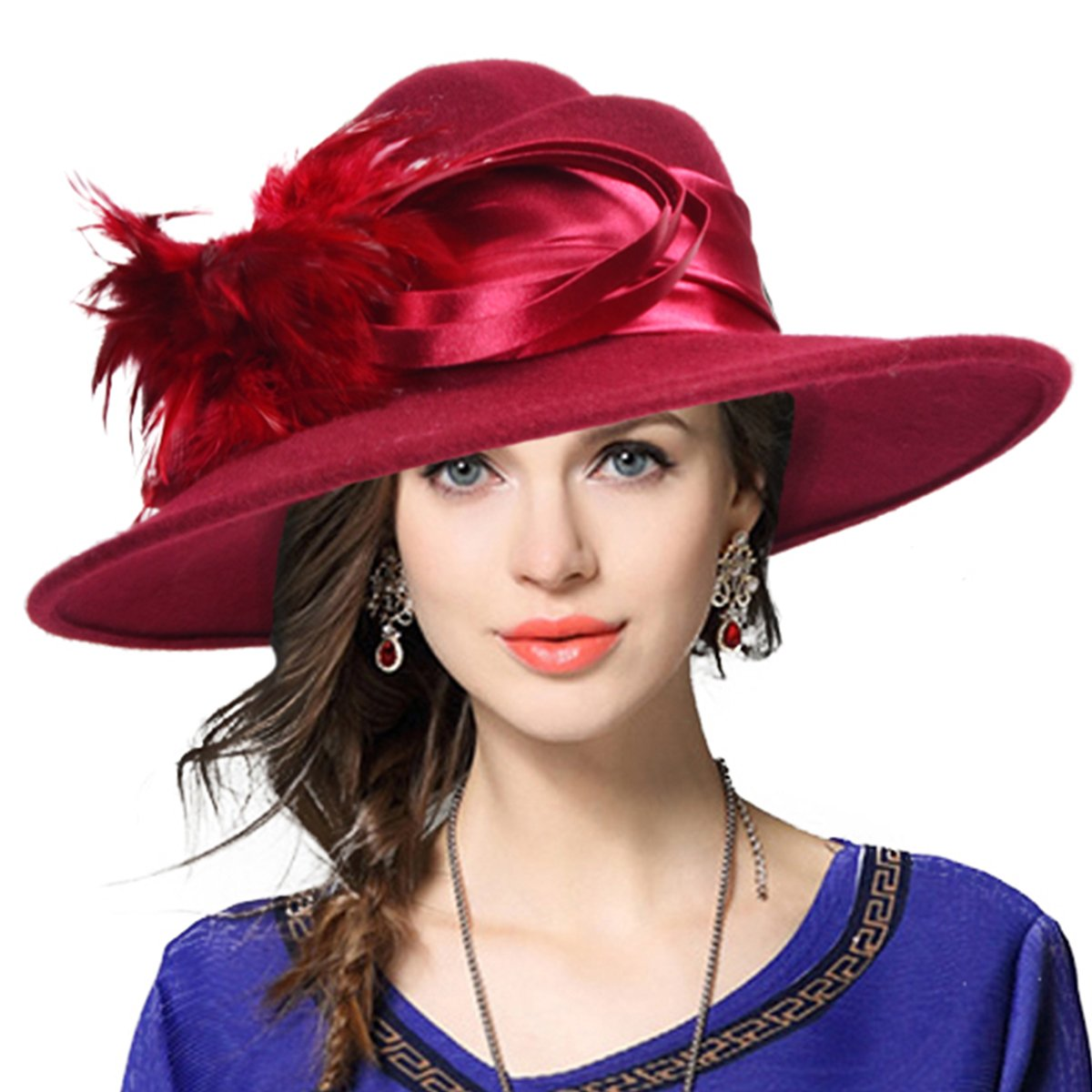 VECRY Ladies 100% Wool Felt Feather Cocktail British Formal Party Hat (Claret)