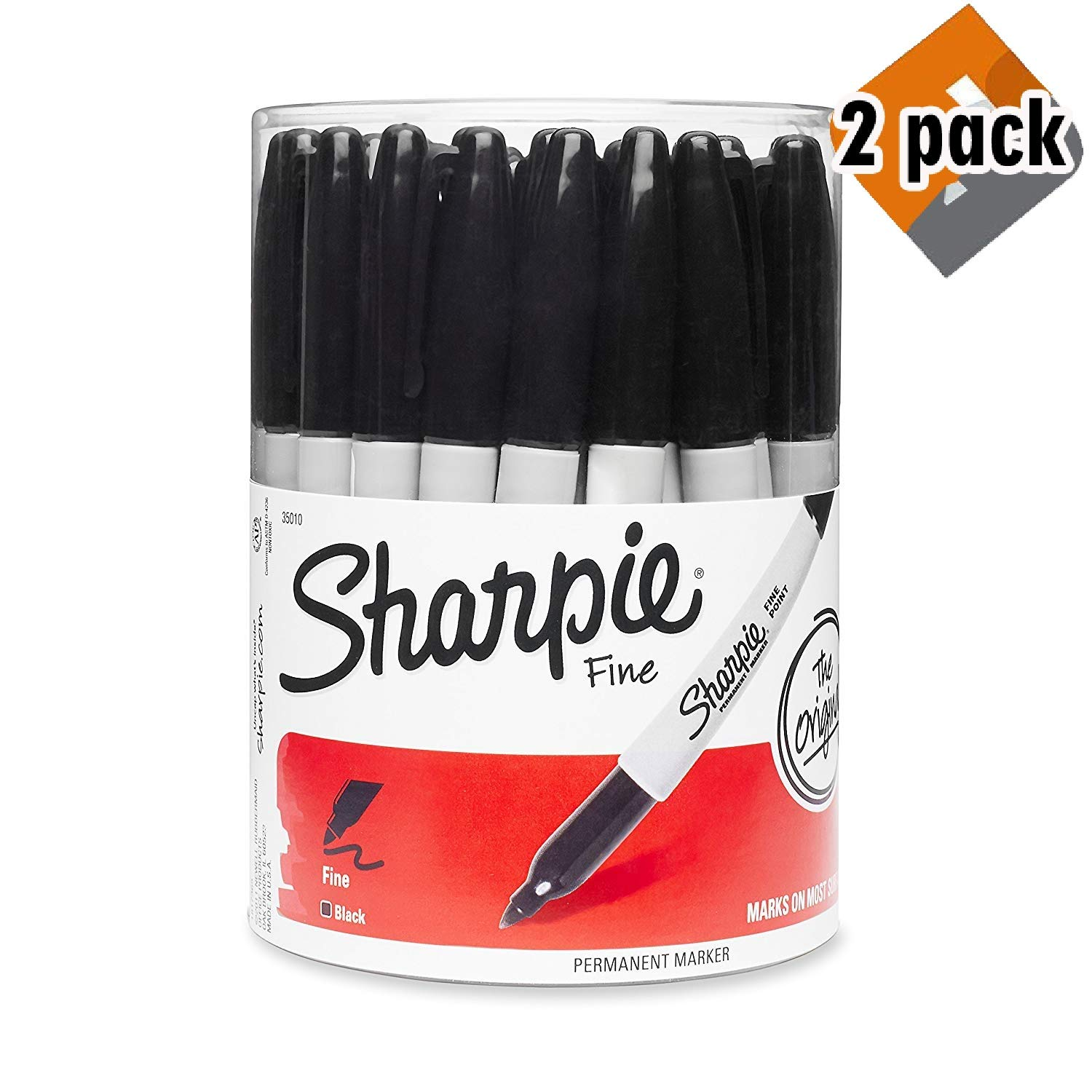 Sharpie Fine Point Permanent Marker, Black (Canister with 36 Pens) (2 Pack (Black))
