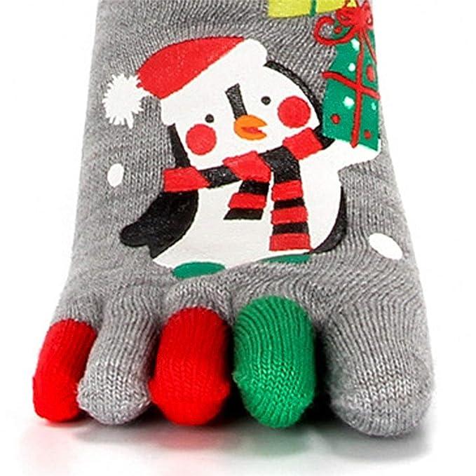 Funny Christmas Winter Warm Kawaii Printed Five Finger Comfortable Soft Socks, A at Amazon Womens Clothing store:
