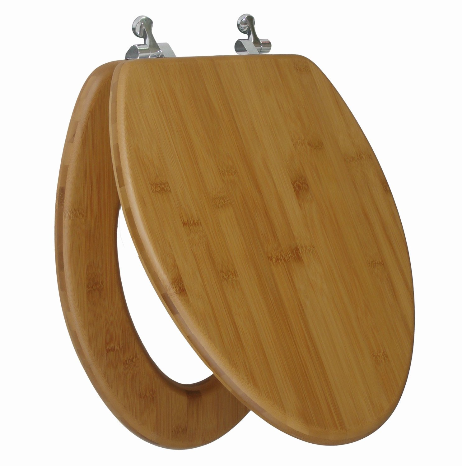 Topseat Elongated Toilet Seat with Nature Bamboo Dark Wood Grain Impeccably Smooth Finish