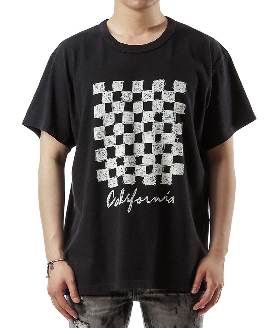 Wiberlux Amiri Men's California With Check Board Print T-Shirt M Black