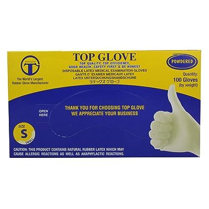 Top Glove cw060/usew60/S desechables ligeramente con polvo guantes de látex, AQL