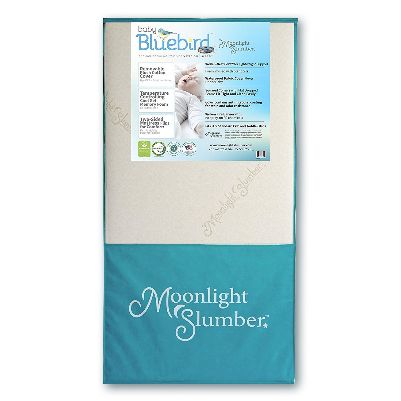 Removable Plush Cotton Cover Waterproof Crib Mattress and Toddler Mattress with Airflow Core /& Cool Gel Memory Foam Moonlight Slumber Mattress Combo: Baby Bluebird Dual Firmness Lightweight