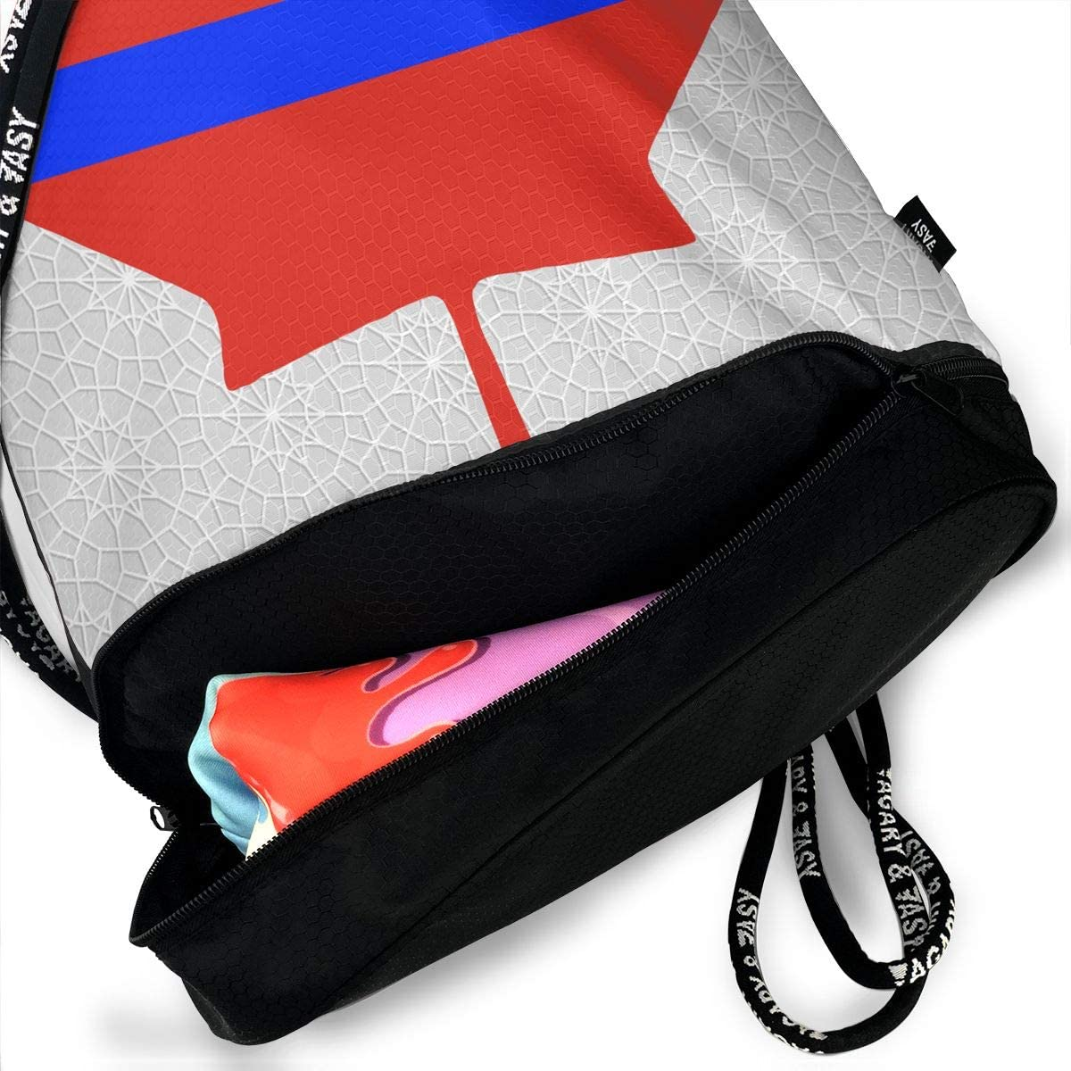 Thin Blue Line Canada Maple Drawstring Bag Multifunctional String Backpack Custom Cinch Backpack Sport Gym Sack