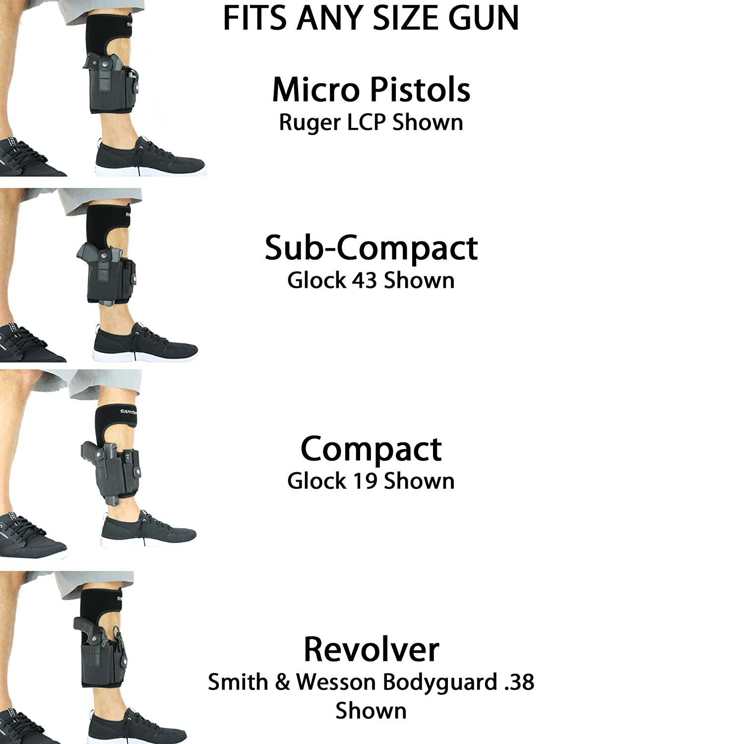 Amazon.com : ComfortTac Ankle Holster With Calf Strap and Spare ...
