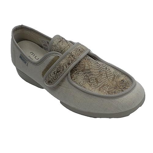 Zapatilla Velcro Cerrada Mujer Pala Licra Muro en beig: Amazon.es: Zapatos y complementos