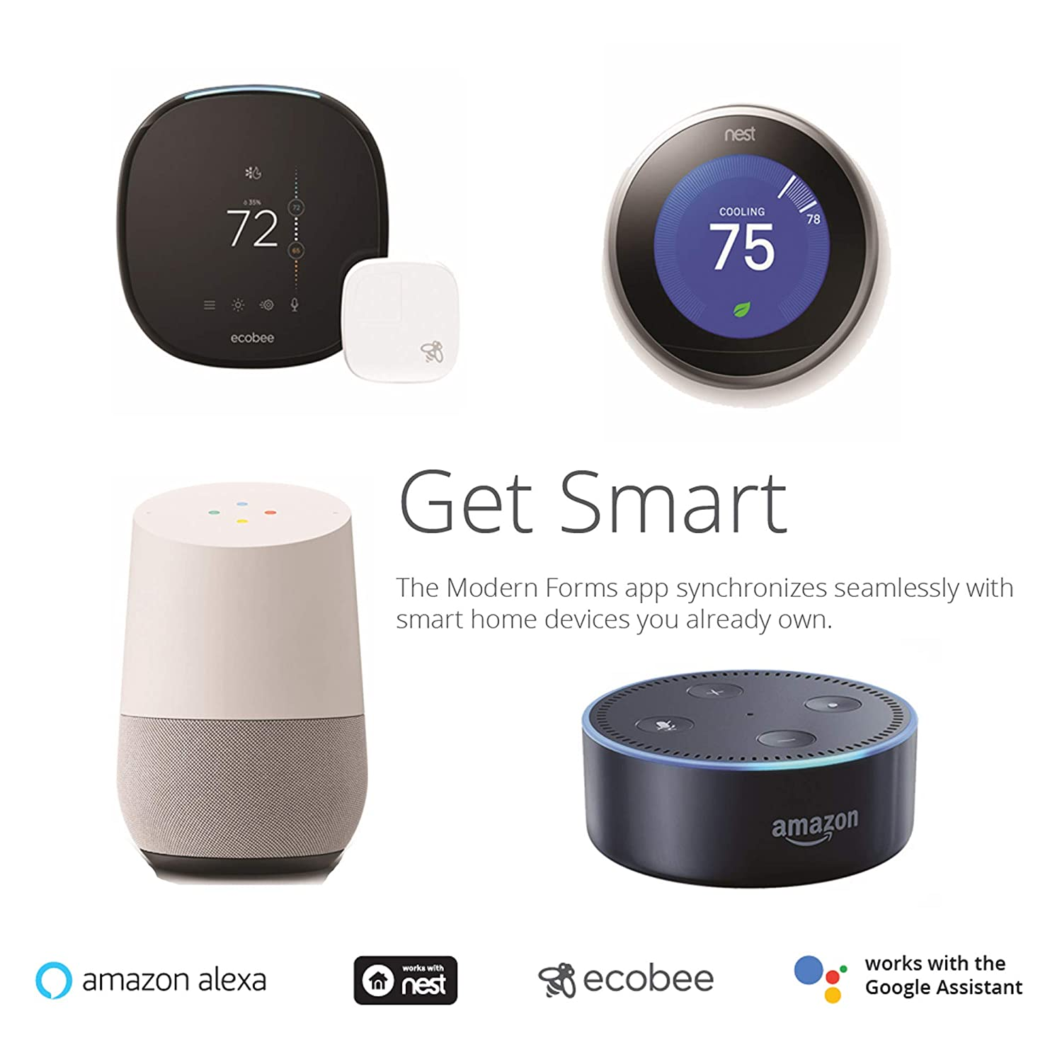 Ecobee Google Home and IOS//Android App, Modern Forms FR-W1803-52L-MW Axis 52 Inch Three Blade Indoor//Outdoor Smart Fan with Six Speed DC Motor and LED Light in Matte White Finish Works with Nest