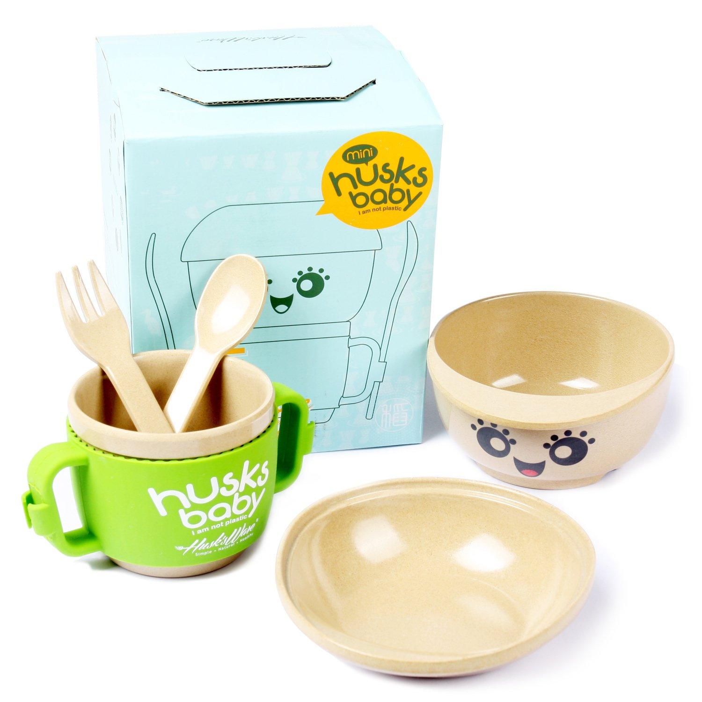Kids Dinnerware Set - 5 Piece Baby Bowl and Dishes Set, Wheat Fiber Ultimate Baby Feeding Set