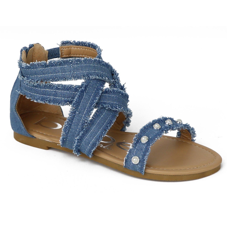 bebe Girls Denim Fringe Gladiator Sandals (Little Girl/Big Girl) (13 M US Little Kid, Medium Denim)