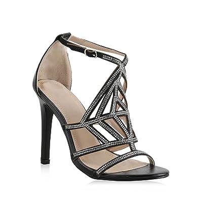 Stiefelparadies Damen Sandaletten High Heels mit Pfennigabsatz Strass Metallic Flandell