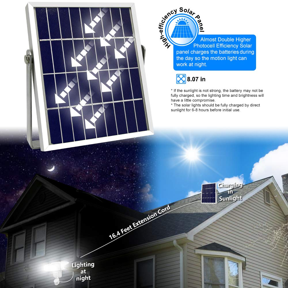 Solar Lights Outdoor, Lovin Product Ultra Bright 182 LED 1000 Lumens Motion Sensor Lights; Wide Angle Illumination/ 3 Control Dials Mode, Security Solar Wall Lights for Driveway, Deck - White by LOVIN PRODUCT (Image #4)