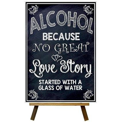 Pizarra estilo no gran Historia de amor Bar boda de cartel ...
