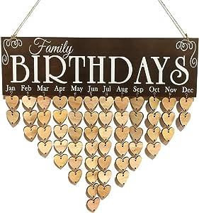 WINOMO Wooden DIY Calendar Hanging Plaque Board Family Birthday Reminder Home Decor