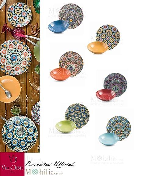 Servizio Piatti Colorati Porcellana Marrakech Villa D\'Este