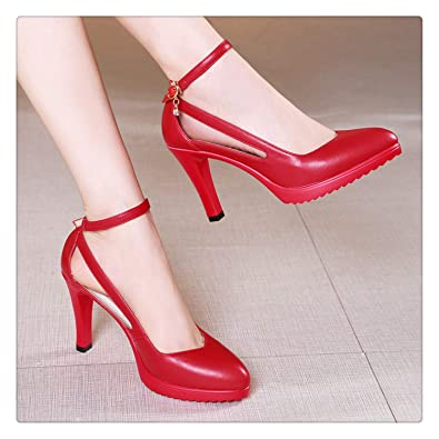 8848eb051a01e Amazon.com: Size 32-43 2019 Autumn Women High Heels Shoes Fashion ...