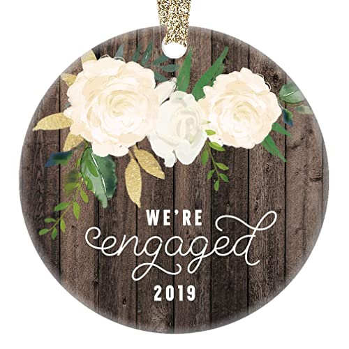 We Re Engaged Christmas Ornament 2019 Gifts For The Bride To Be Couple Engagement 1st Xmas Tree Present Unique Home Decor Idea 3 Flat Circle Ceramic