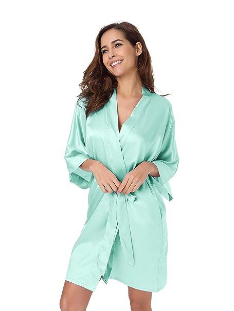 SIORO Albornoces de Mujeres Batas de 3/4 Mangas Calido Ropa de Dormir Noche Kimonos Pijamas para Mujer para Invierno Casa Ba?o Fiestas de Pijama: Amazon.es: ...