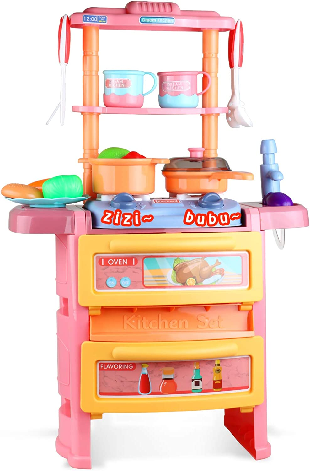 Beletops Play Kitchen, Kids Kitchen Playset Pretend Play Cooking Toys Play Food Kitchen Set with Realistic Light, Sound and Running Water for Toddlers, Children, Boys, Girls, Kids. (14.2x7.5x21.7IN)