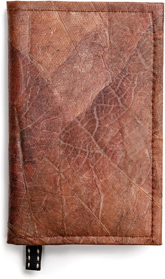 Leaf Leather Notebook Refillable Nature Journal with Page Marker - Handmade - Brown