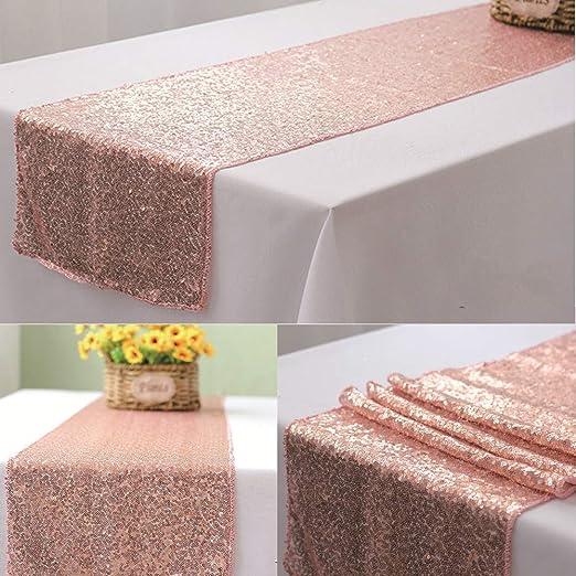 Brillante oro de lentejuelas camino de mesa, tela, oro rosa, 4 ...