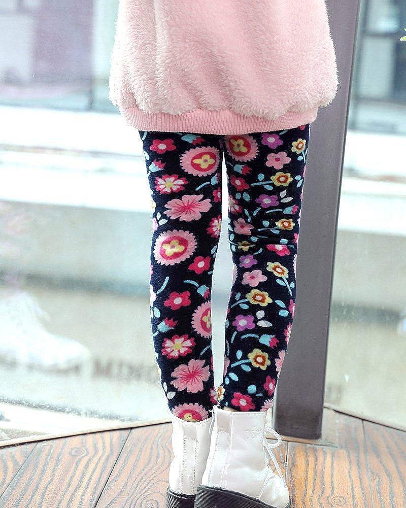 Ni/ña Flor Impresi/ón Leggings El/ástico Pantalones Leggins Largos Gruesos para Oto/ño Invierno