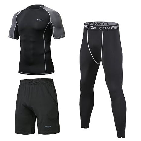 3 Piezas Niksa Conjunto Camiseta Compresión Ropa Deportiva Hombre Pantalones Cortos y Leggings y Tops Apretada