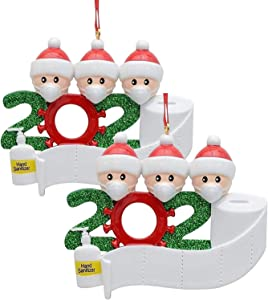 2 Pack 2020 Christmas Ornament, Handmade Christmas Tree Decor Ornaments Christmas Party Decoration Gift 3 Family Members Christmas Tree Decoration Indoor for Home.