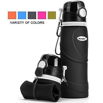 Kemier Botellas de Agua de Silicona Plegables–750ML,Calidad Médica Libre de BPA,