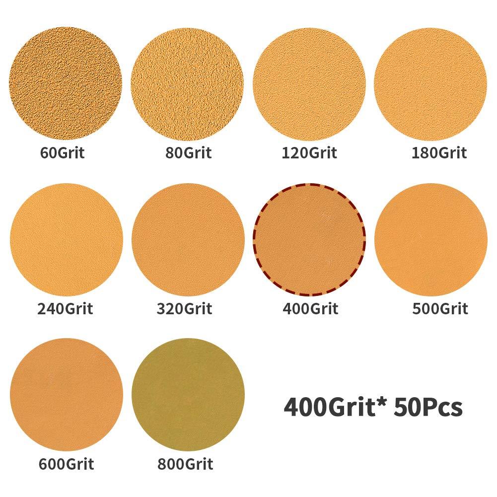 giallo 50 dischi abrasivi da 15,2 cm assortimento di dischi di finitura gialli per lavorazione del legno carta vetrata senza polvere Speedwox adatti per levigatrice orbitale 6 fori