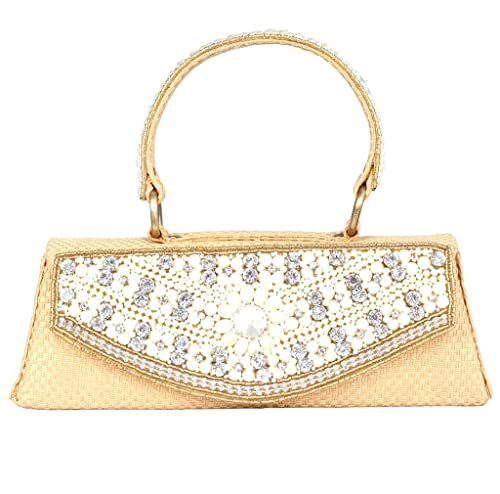 2399e7379e PrettyKrafts Designer Jute Bag - Hand Purse for Women and Girls with Pearls  and Stones - Golden  Amazon.in  Shoes   Handbags