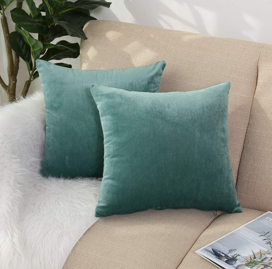 "Cushions DUCK EGG  BLUE cotton Velvet 16/"" Zipped CUSHION COVER"