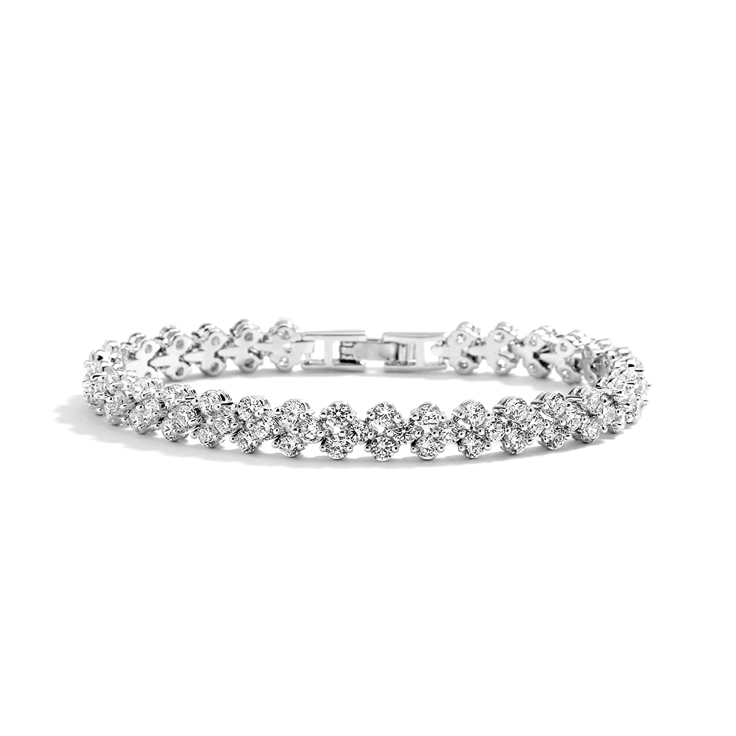 Mariell Rhodium Cubic Zirconia Wedding or Prom Tennis Bracelet for Bridal or Everyday Wear! 4109B-S-7