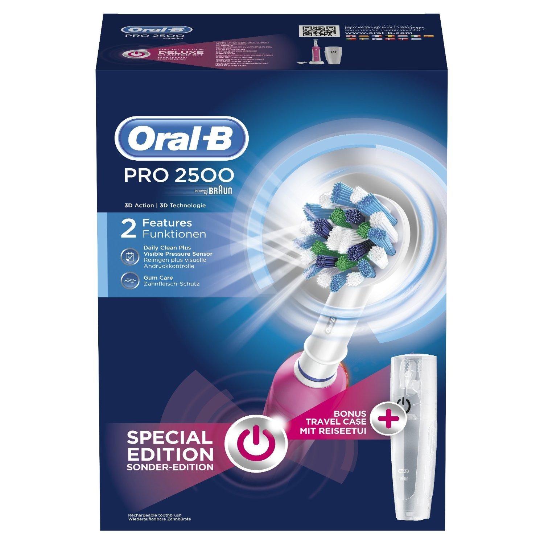 Braun Oral-B Pro 2500 - Cepillo de dientes eléctrico de rotación (material vidrio), color plateado: Amazon.es: Salud y cuidado personal