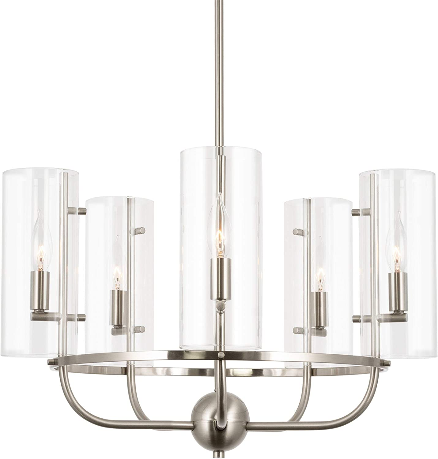 """Kira Home Inara 22.5"""" Large Round 5-Light Modern Chandelier + Clear Glass Shades, Adjustable Height, Brushed Nickel Finish"""