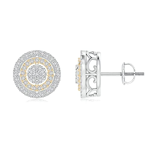 Angara Floating Diamond Cluster Halo Stud Earrings in Two Tone 4BhEPiG4TZ