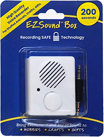 EZSound Box | 200 seconds Voice Recorder for Stuffed Animals | Recordable Button Sound Box for Crafters, Hobbyists, etc | Voice Box for Recordable Gifts | Build a Bear Voice Recorder | Toy Recorder