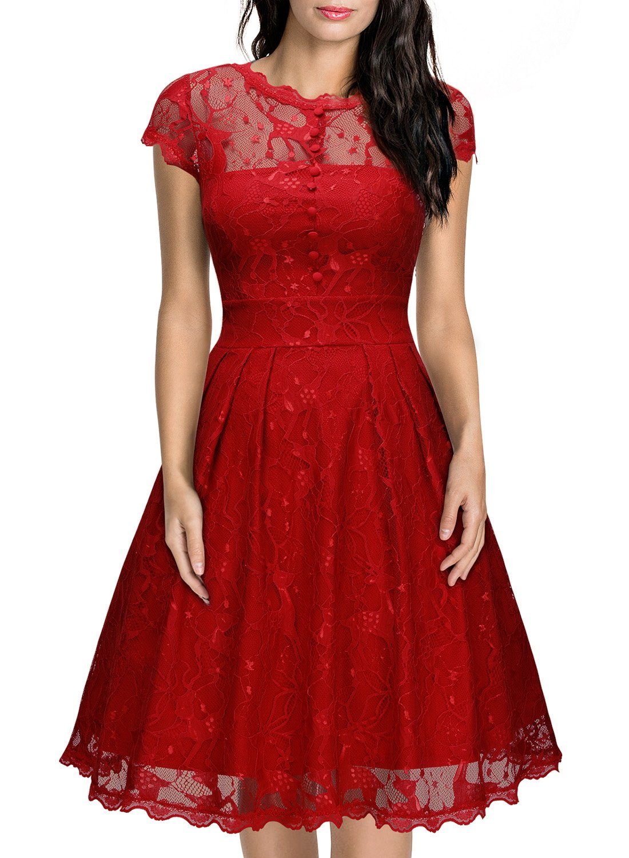 missmay womens vintage cap sleeve lace overlay elegant evening party swing dress - Vintage Christmas Dress