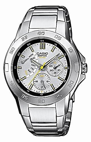 CASIO Edifice EF-318D-8AVEF - Reloj de cuarzo con correa de acero inoxidable para hombre, color plateado: Amazon.es: Relojes