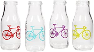 Home Essentials & Beyond Wanderlust Set of 4 Glass Bicycle Milk Bottles Jugs Beverage Glassware and Drinkware Reusable Vintage Dairy Bottle Drinking glasses 12 Oz White with Bicycle Design