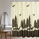 Fabric Shower Curtain Natural Theme by Ufriday, Mildew-Resistant Waterproof,with Lead Weight, Deer in the Forest Design,72 x 72 inchs, Yellow and Brown