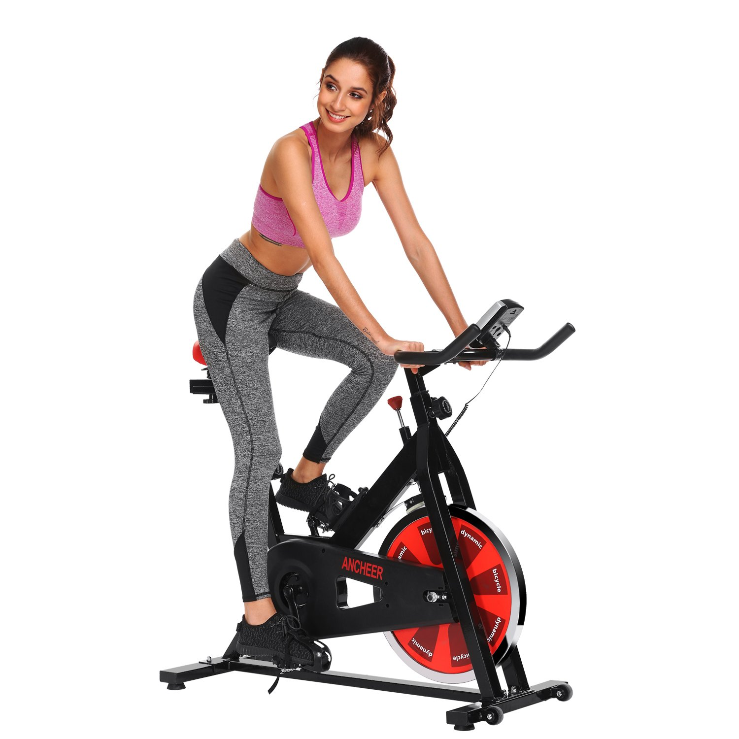ANCHEER Stationary Bike, Belt Drive Indoor Cycling Exercise Bike 40 LBS Flywheel (Black_Red) by ANCHEER (Image #1)