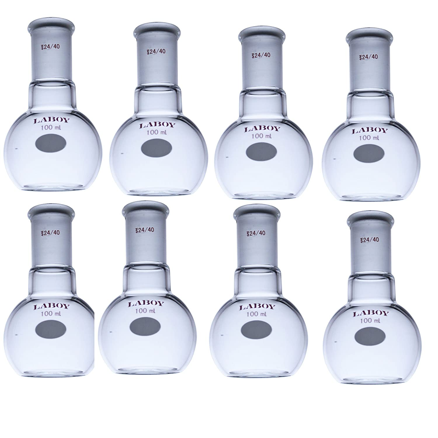 Laboy Glass Single Neck Flat Bottom Boiling Flask 100mL with 24/40 Joint Heavy Wall Distillation Receiving Apparatus Organic Chemistry Lab Glassware (Pack of 8)