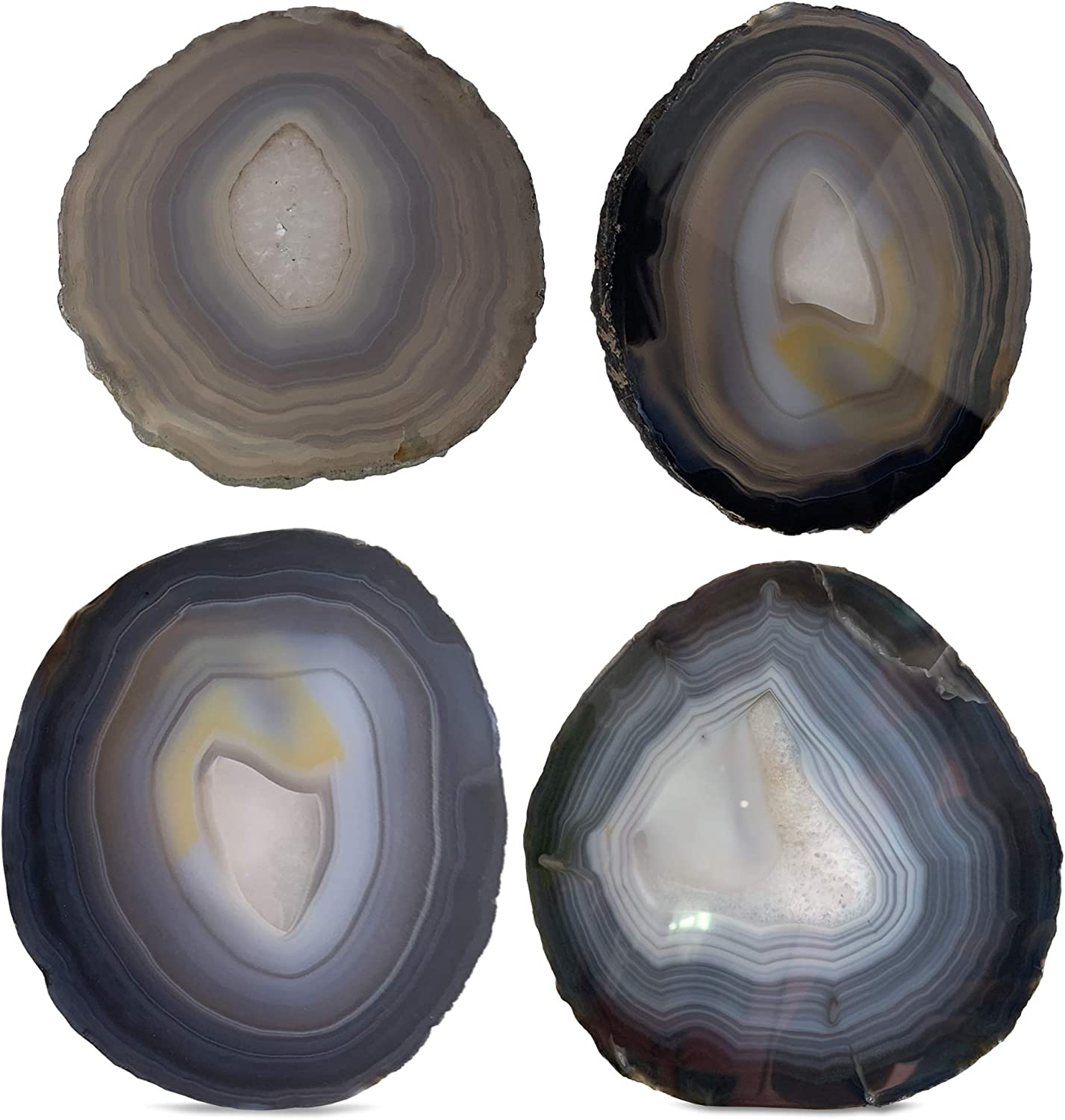 Gray Agate Coasters for Drinks - Set of 4 - Brazilian Geode Decor - (3.5