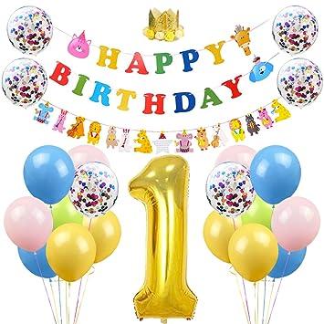 Kreatwow Animal 1er Cumpleaños Decoraciones Animal Feliz ...